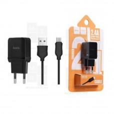 HOCO C22A SET сетевое зарядное устройство с кабелем Micro-USB черное 2.4A