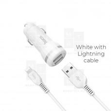 Hoco Z27 автомобильное зарядное устройство с кабелем Lightning белое 2.4A