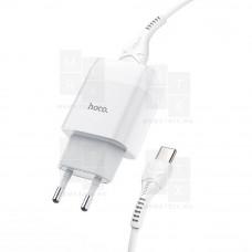 Сетевое зарядное устройство USB Hoco C72A (2A, кабель Type-C) Белый