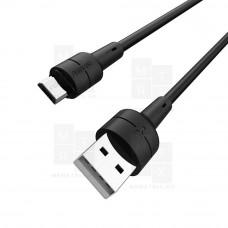 Borofone X30 SILICONE (Black) USB - Micro USB 100 см 2.4A кабель (в)