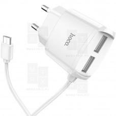 HOCO C59A сетевое зарядное устройство c 2 USB+кабель Micro USB  белое 2.4A