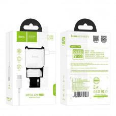 HOCO C59A сетевое зарядное устройство c 2 USB+кабель Type-C белое 2.4A